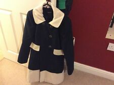 Jane Norman Navy & Cream Winter Coat Size 6-8