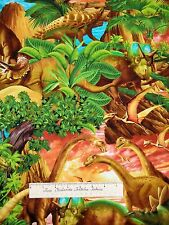 Animal Fabric - Michael Searle Dinosaur Jungle Scene - Timeless Treasures YARD