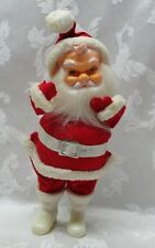 VINTAGE SANTA CLAUS Figure Red Valor Suit Mittens HARD PLASTIC FACE Rare Belt