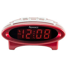 "4229 Advance Time Technology Electric Digital Alarm Clock 0.7"" LCD Display - Red"
