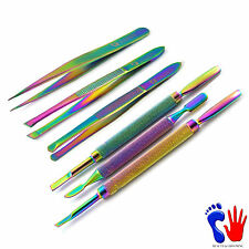 Titanium Coated Eyebrow Tweezers And Cuticles Spoon Pusher Manicure Pedicure Kit
