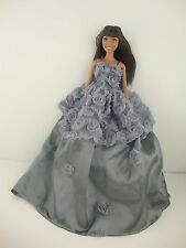 Soft Silver Dress with Roses on Bodice and Upper Skirt Made to Fit Barbie Doll