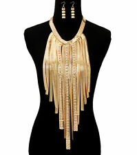 Gold Bling RHINESTONE OMEGA DROP MULTI-CHAIN Statement Necklace & Earrings SET