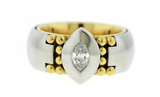 Georg Jensen Diamond Platinum/18K Yellow Gold Ring Size 5.5