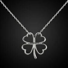 White Gold GP 4 Leaf Lucky Clover Flower Pendant Necklace Y-IN053A