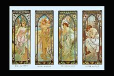A3 Size Poster Mucha Art Nouveau Times of Day Print Matin Jour Soir Nuit Reverie
