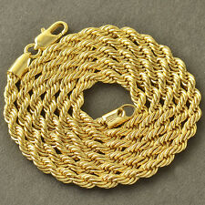 Handsome 9K Yellow Gold Filled Mens 4MM Rope Chain Necklace 24 INCH,Z4364