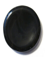 CARVED - BLACK ONYX Crystal Worry Stone with Description Card - Healing Stone