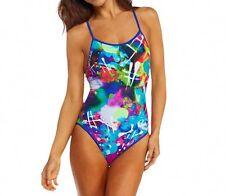 Reebok Sport One Piece Sz M Blue Multi Crossback Tank SwimSuit Swimwear 864777