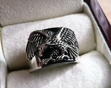 BLACK ONYX EAGLE DESIGN  925 SILVER ETHNIC MENS SIGNET RING SZ T US 10