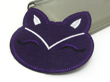 New Cute Cat Embroidered Applique Iron On Sew On Patch Cloth Dark Purple