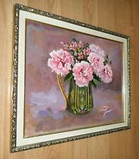 LRG VINTAGE PARIS APT SIGNED PAINTING SHABBY PINK FLOWERS IN CHIC FRENCH PITCHER