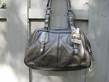 B Makowsky satchel PORTOFINO bag purse black leather gunmetal silver Beautiful!