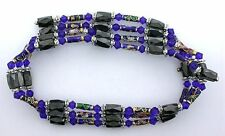 36 Inch Blue Crystal Cloisonne Hematite Magnetic Wrap Bracelet Necklace m36ibn8