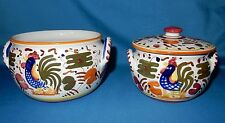 "Made in Italy Set of 2 Rooster Chicken 6"" Bowl & 5"" Sugar Bowl Dish"