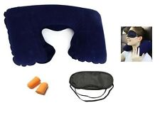 NEW 3 IN 1 TRAVEL COMFORT SET INFLATABLE NECK CUSHION PILLOW EYE MASK 2 EAR PLUG