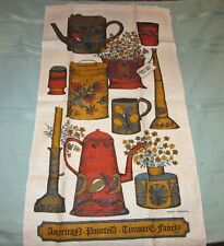 New NOS Vintage Sandy Parsons American Painted Tinware Linen Kitchen Tea Towel