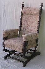 FINE VICTORIAN HUNZINGER PLATFORM ROCKER WITH FABULOUS CARVINGS IN WALNUT