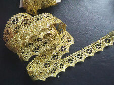 1/2 inch wide gold scalloped metallic lace trim  selling by yard