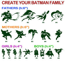 Batman Family Vinyl Decal Sticker Car Window Create Father Mother Sister Brother