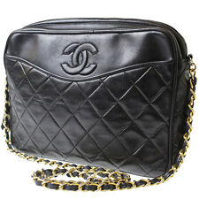 CHANEL Matelasse Quilted Shoulder Bag Black Lambskin Vintage Italy Auth #6800 M