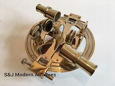 Round Antique Brass Sextant Nautical Marine Vintage Navigation Wooden Box 6.5""