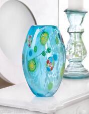 """turquoise blue 10"""" Handmade modern art Glass Sculpture Flower VASE centerpiece"""