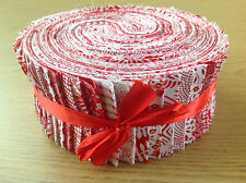 *SALE* 50 JELLY ROLL STRIPS 100% COTTON PATCHWORK FABRIC RED
