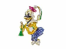 DUCK PIN SET NATURAL RUBY EMERALD SAPPHIRE DIAMOND FACETED AND ROUND DIAMOND PIN