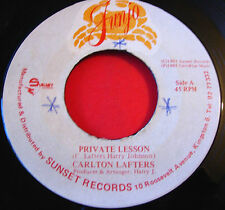 "Carlton Lafters Private Lesson JA 7"" Lovers Junjo b/w Version Harry J VINYL"