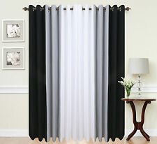 EYELET curtains RING TOP Fully Lined Pair Ready made curtains  3 TONE BLACK GREY