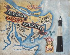Tybee Island Georgia coastal retro map Print art decor Beach savannah lighthouse