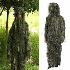 5 Piece 3D Jungle Forest Hunting Ghillie Suit Woodland Camo Camouflage Clothing