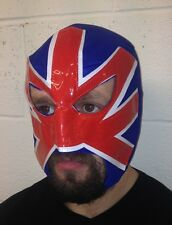 HOOLIGAN MEXICAN LUCHA LIBRE LUCHADOR ADULT WRESTLING MASK BRITISH FLAG BLUE RED