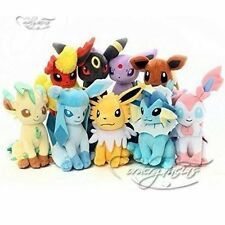 Pokemon Evolution of Sit Eevee Sylveon Umbreon Leafe Plush doll Toy 9PCS SET