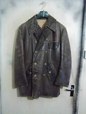 VINTAGE 1940'S WW2 KRIEGSMARINE GERMAN U BOAT LEATHER DECK JACKET SIZE M