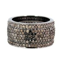 Natural Diamond Pave Black David Star Band Ring SZ 7 925 Sterling Silver Jewelry