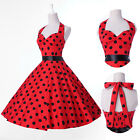 Fashion Polka dots Retro 50s Vintage Halter Evening Prom Swing Dress