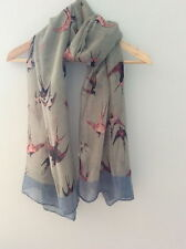 Lovely Long Grey Blue Swallow Print Scarf Shawl Wrap Accessory