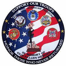 Military Heroes Memorial Patriotic Embroidered Biker Patch Large FREE SHIP