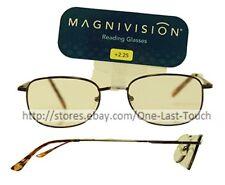 MAGNIVISION* Reading Glasses KENT For Men DARK BROWN Round Frame NEW +2.25