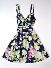 NWT ABERCROMBIE & FITCH Floral Vintage Rose Print Tank Sun Dress navy blue M