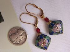 Leverback Blue Cloisonne Pink Dangle Gold Kirsten Earrings USA Handmade Drop