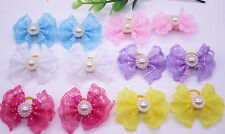 20pcs Pet Dog Hair Bows Lace Bowknot with pearls Pet Grooming bows Topknot