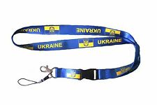 UKRAINE BLUE COUNTRY FLAG WITH TRIDENT LANYARD KEYCHAIN PASSHOLDER ..NEW
