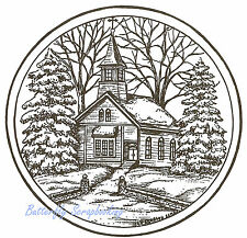 Winter Church Pine Trees Circle Wood Mounted Rubber Stamp NORTHWOODS PP8835 New