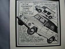 1974 Volkswagen The Thing   Auto Pen Ink Hand Drawn  Poster Automotive Museum