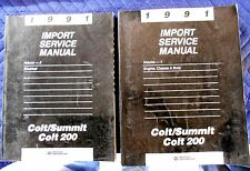 1991 Dodge Colt/Summit Colt 200 Factory OEM Import  Service Manual Set Vol. 1-2