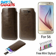 BROWN SOFT LEATHER PULL UP CASE COVER SOCK POUCH SLEEVE FOR SAMSUNG GALAXY S6