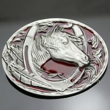 Silver Native 3D Horse Shoe Eagle Feather Rodeo Cowgirl Zuni Navajo Belt Buckle